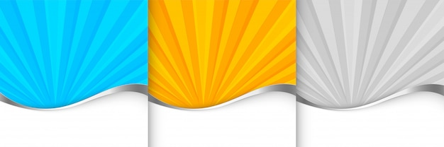 Sunburst background template in orange blue and gray shade