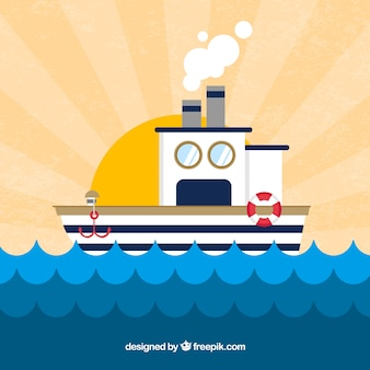 Sunburst background with boat and waves in flat design