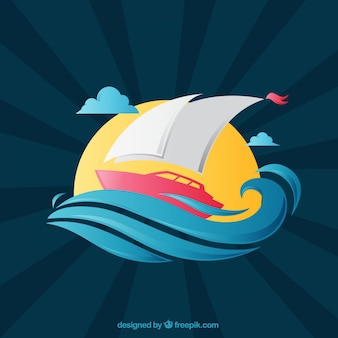 Sunburst background with boat and waves