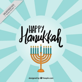 Sunburst background with candelabra for hanukkah