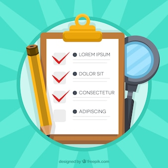 Sunburst background with checklist, pencil and magnifying glass