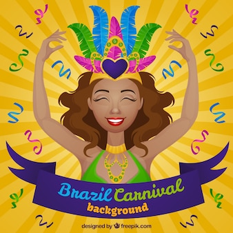 Sunburst background with cheerful woman for brazilian carnival