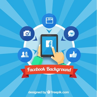 Sunburst background with facebook elements