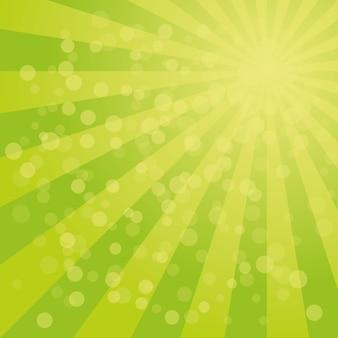 Фон солнечных лучей с зеленой цветовой палитрой закрученного радиального полосатого дизайна.