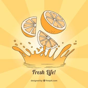 Sfondo di sunburst con succo d'arancia