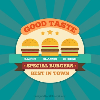 Sunburst фон с тремя вкусными гамбургеры