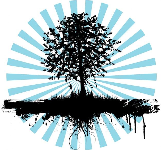 Sunburst background with tree