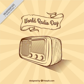 Sunburst background for world radio day in retro style