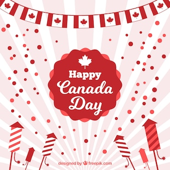Sunburst canada day background in flat design