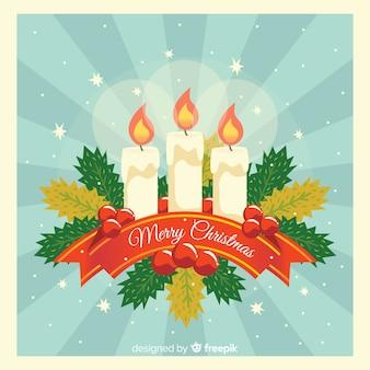 Sunburst candles christmas background
