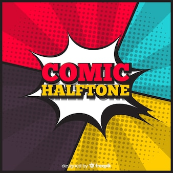 Sunburst comic halftone background