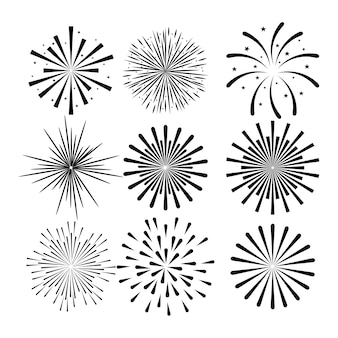 Sunburst decorative set icons