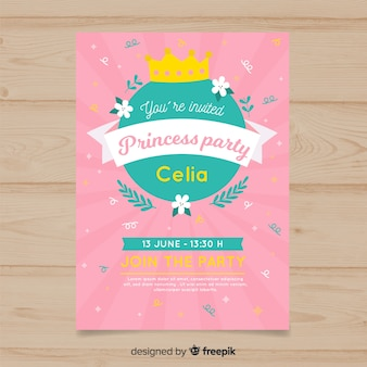 Sunburst effect birthday princess invitation