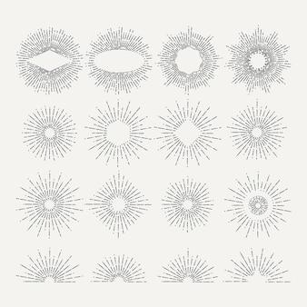 サンバーストイラストセット。円は要素を形作ります。ピクチャー。線形放射状ビンテージサンバースト、描画スターバーストのセット
