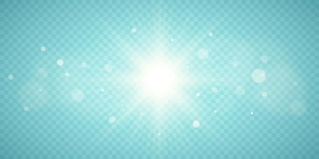 透明な背景に分離されたサンバースト。ボケ味のある太陽。光の効果。ベクトルイラスト