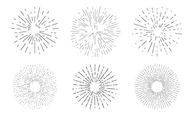 サンバースト線形アイコンコレクション。バースト光線、花火またはスターバーストセット