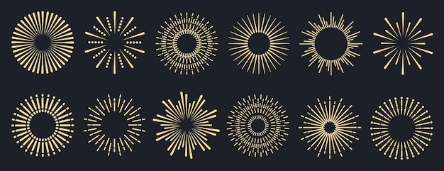 Sunburst logotype or lettering collection