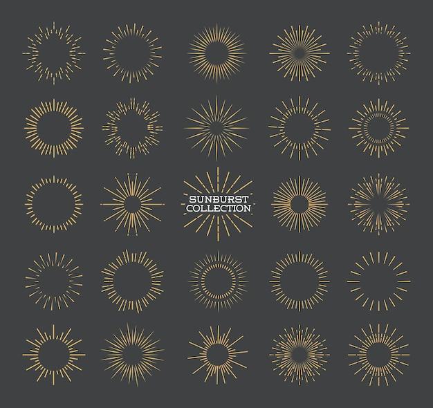 Sunburst set gold style isolated on gray background for logotype