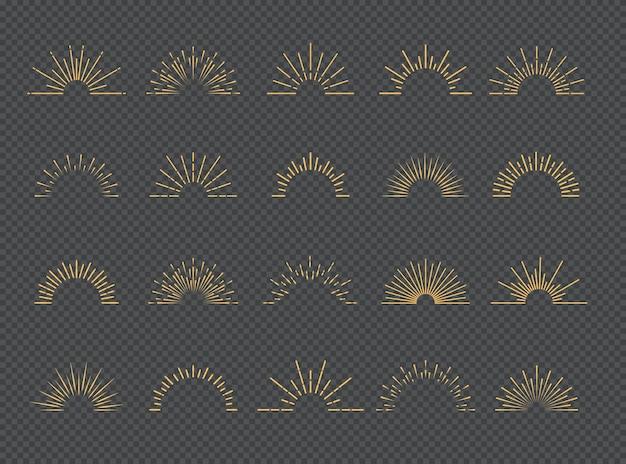 Набор солнечных лучей в золотом стиле на прозрачном фоне для логотипа