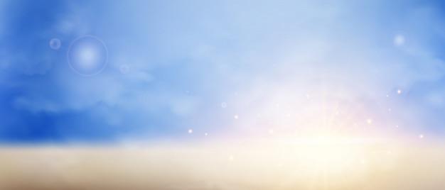 Sunburst on twilight sky background.