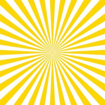 サンバーストベクトルの背景。サンバーストヴィンテージスタイル。黄色のベクトル光線。