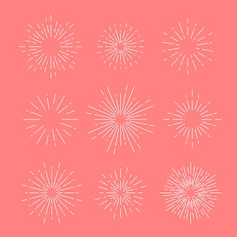 Sunburst vector set on pink