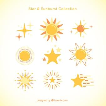 Симпатичный вид sunburst и звезды