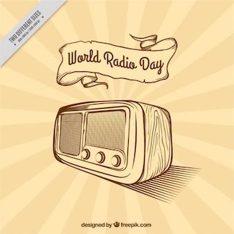 Sunburst фон для мирового радио день в стиле ретро