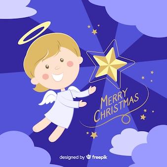 Рождественский ангел sunburst фон
