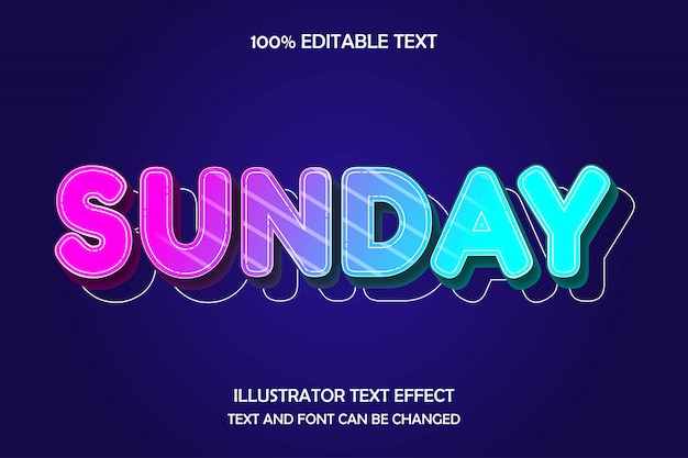 Sunday,3d editable text effect modern cute style Premium Vector