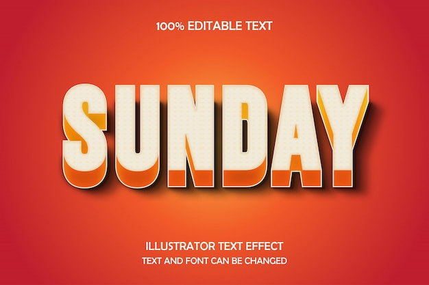 Sunday,3d editable text effect modern shadow style