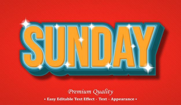 Sunday 3d editable text style effect