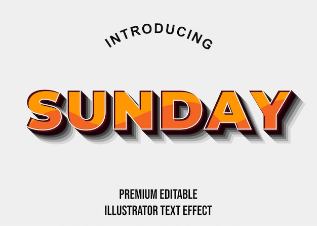 Воскресенье - 3d orange bold illustrator текстовый эффект