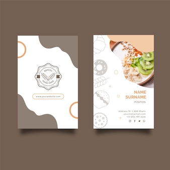 Sunday brunch double sided vertical business card template