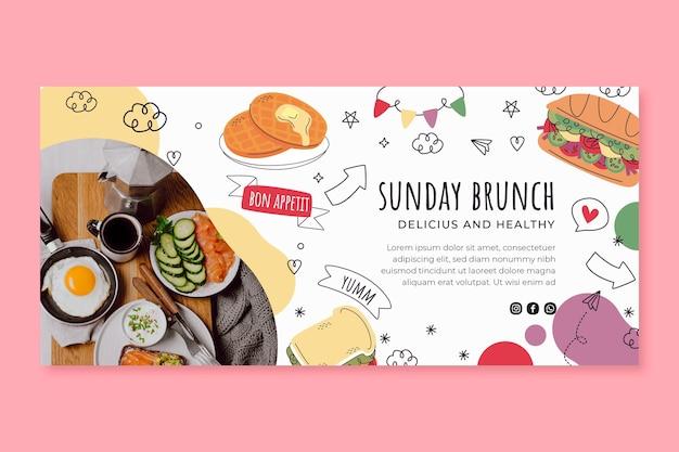 Modello di banner orizzontale del brunch della domenica