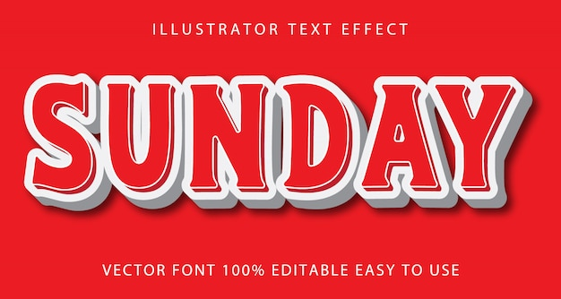 Sunday   editable text effect Premium Vector