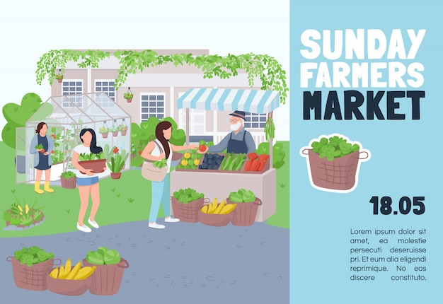 日曜日のファーマーズマーケットテンプレート。パンフレット、漫画のキャラクターとポスターのコンセプト。環境にやさしい製品フェア、トレードイベントの水平チラシ、テキスト用のチラシ