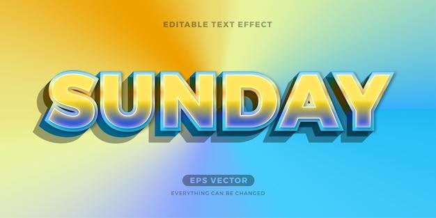 Sunday morning trendy editable text effect Premium Vector