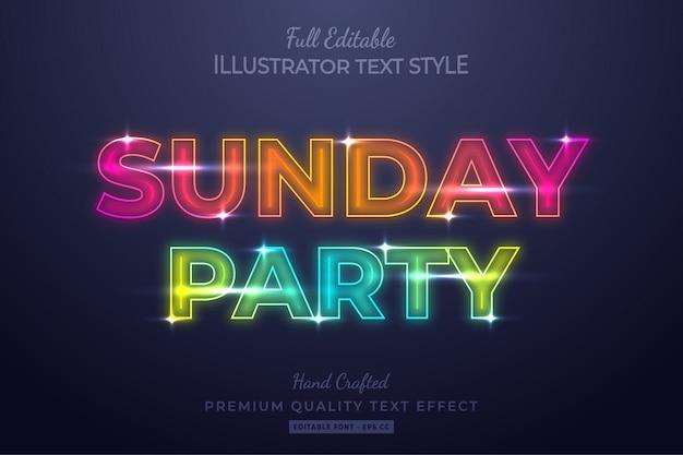 Sunday party neon editable  text style effect premium Premium Vector