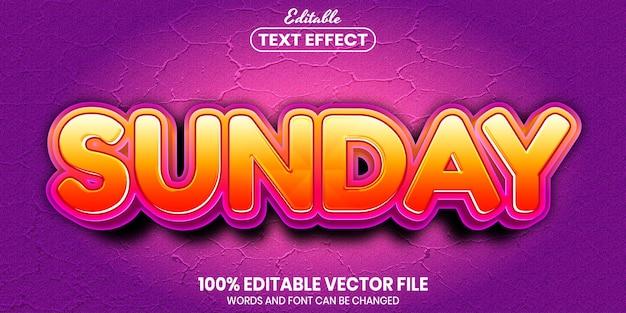 日曜日のテキスト、フォントスタイルの編集可能なテキスト効果