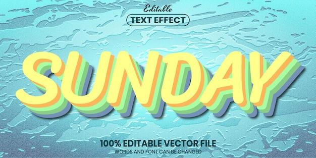 Воскресный текст, редактируемый текстовый эффект в стиле шрифта