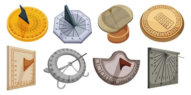 해 시계 만화 아이콘을 설정합니다. 그림 흰색 배경에 태양 시계입니다. 만화 설정 아이콘 해 시계.