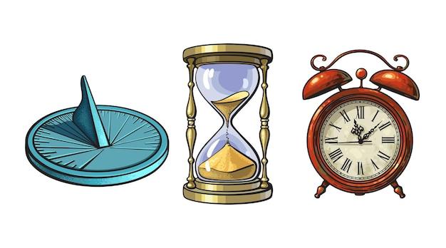 日時計砂時計古い目覚まし時計