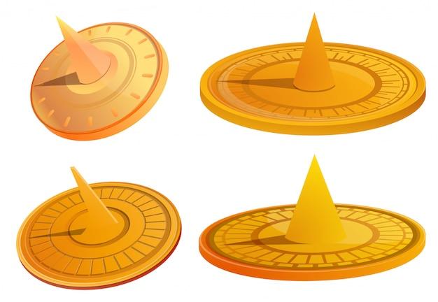 Sundial set. cartoon set of sundial