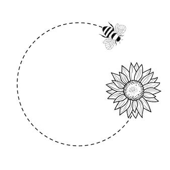 ひまわりと蜂のモノグラムフレーム花の境界線外形図線ベクトル図