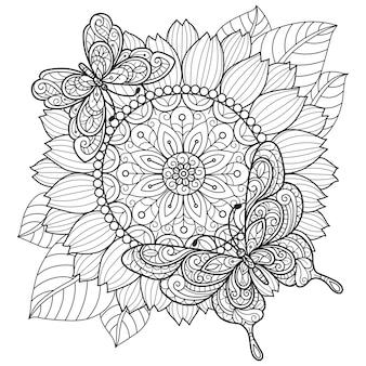 ひまわりと蝶。大人の塗り絵の手描きのスケッチ図