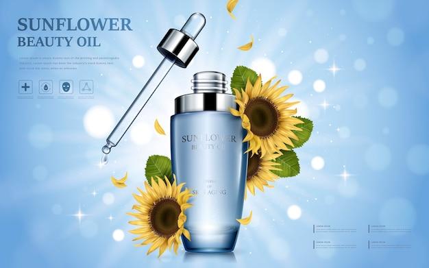 Подсолнечное косметическое масло в глянцевой бутылке с цветочными элементами, сверкающий фон боке
