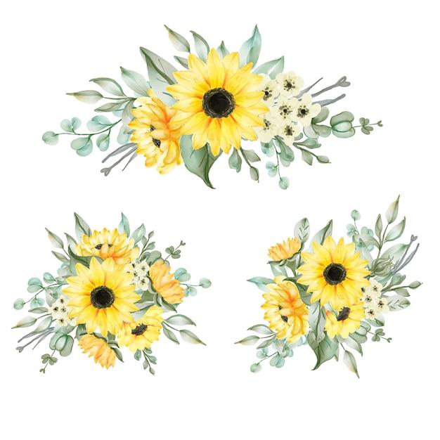 Sunflower bouquet arrangement set