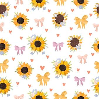 向日葵和蝴蝶结无缝图案