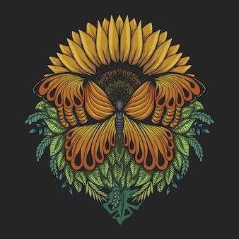 Sunflower butterfly illustration